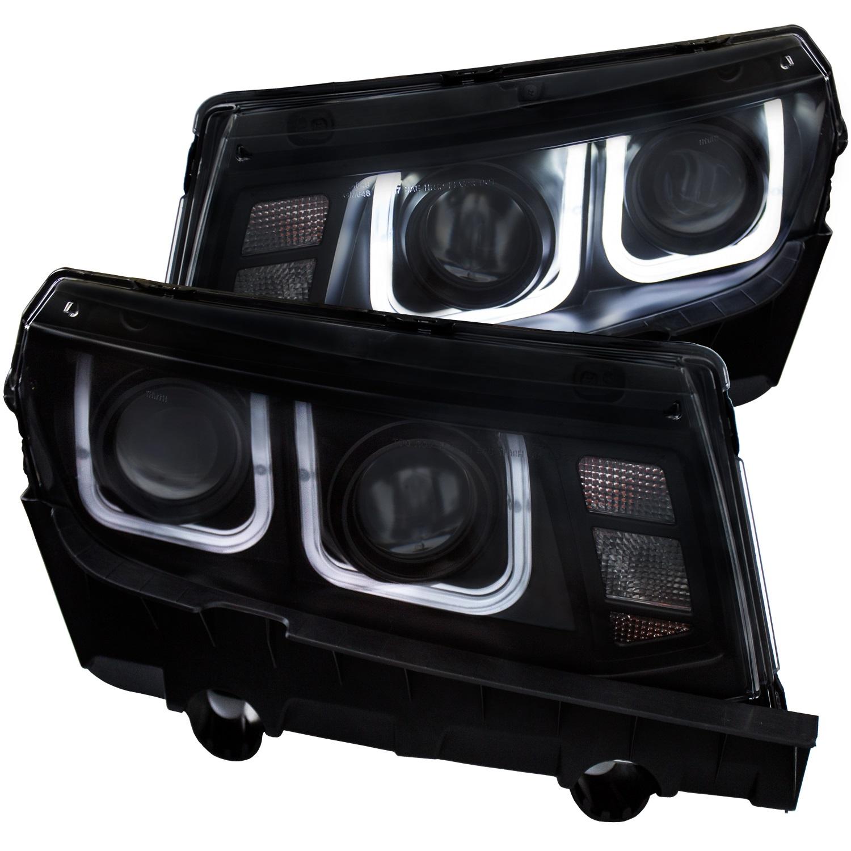 Projector Headlight Set, Clear Lens, Black Housing, Pair, w/U-Bar