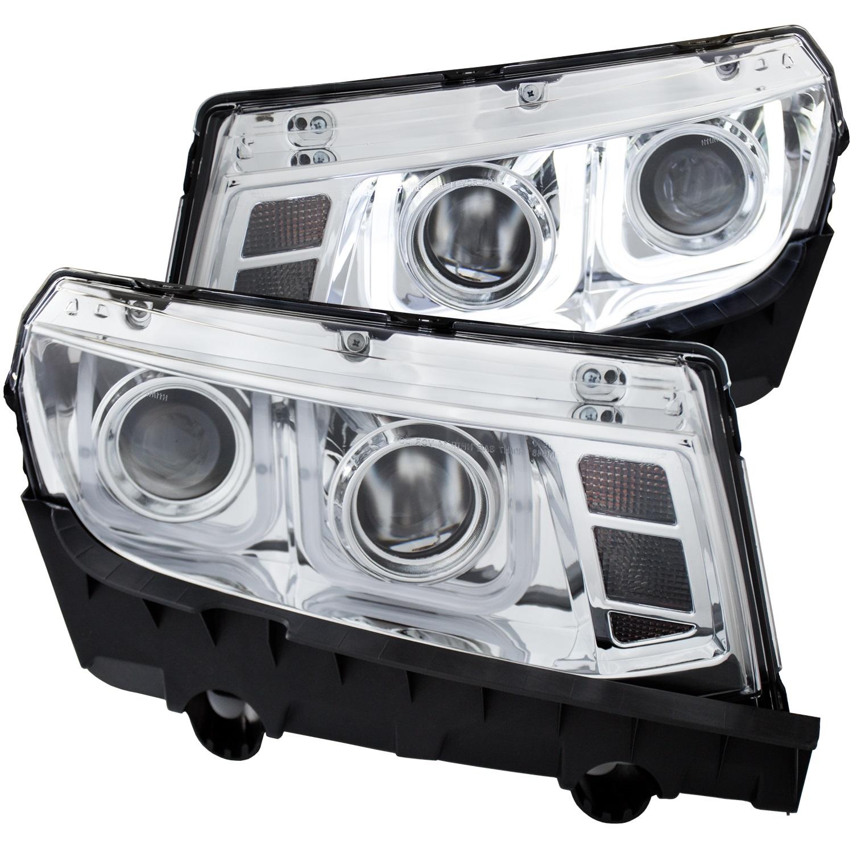 Projector Headlight Set, Clear Lens, Chrome Housing, Pair, w/U-Bar