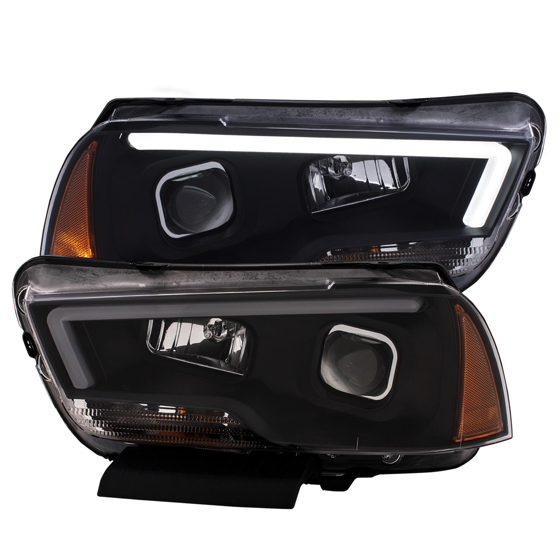 Projector Headlight Set, Clear Lens, Black Housing, Pair, w/Plank Style Design