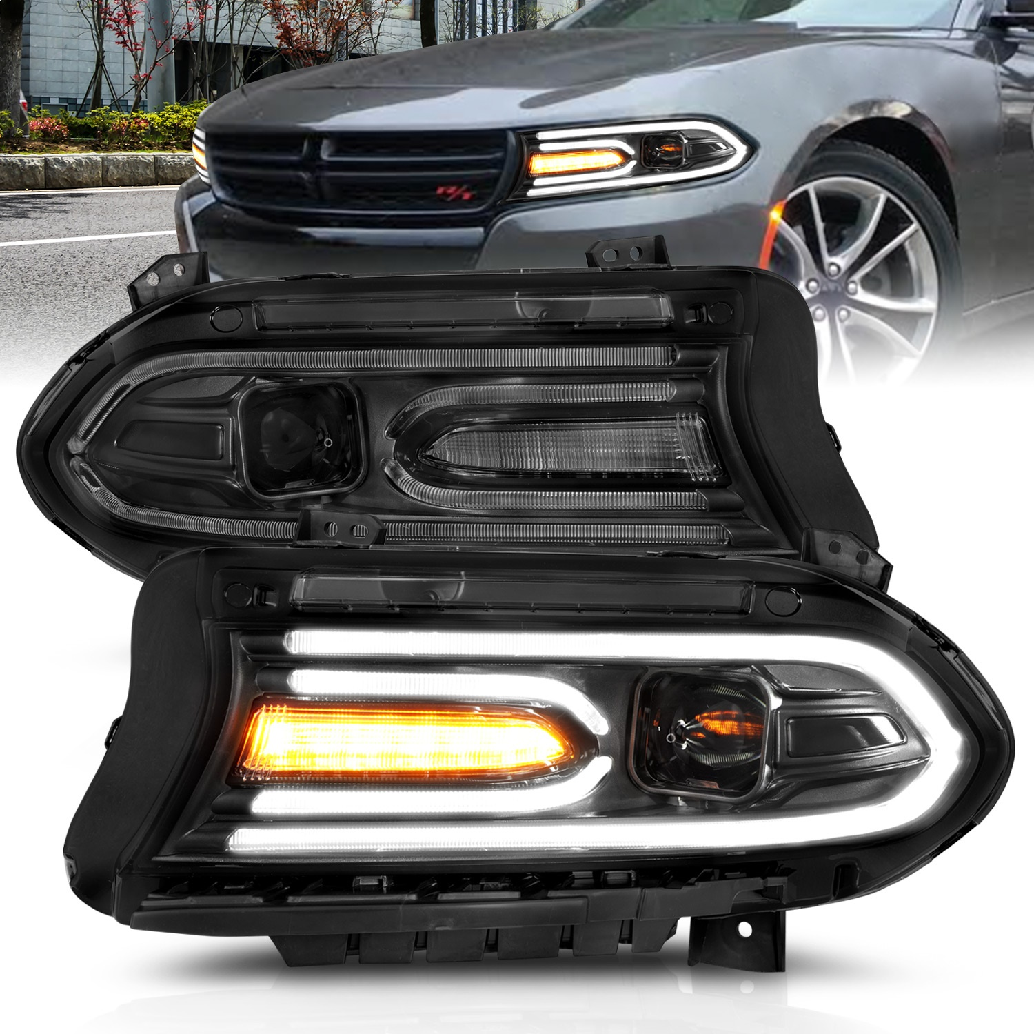 Anzo USA 121559 Projector Headlight Set Fits 15-18 Charger