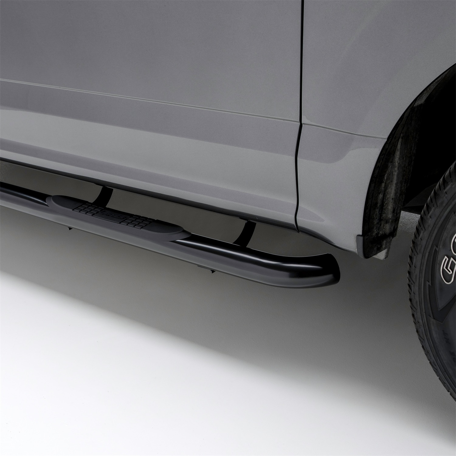 Aries 3 in. Round Side Bars, Incl. Side Bars And Mounting Hardware, Carbon Steel, Semi-Gloss Black