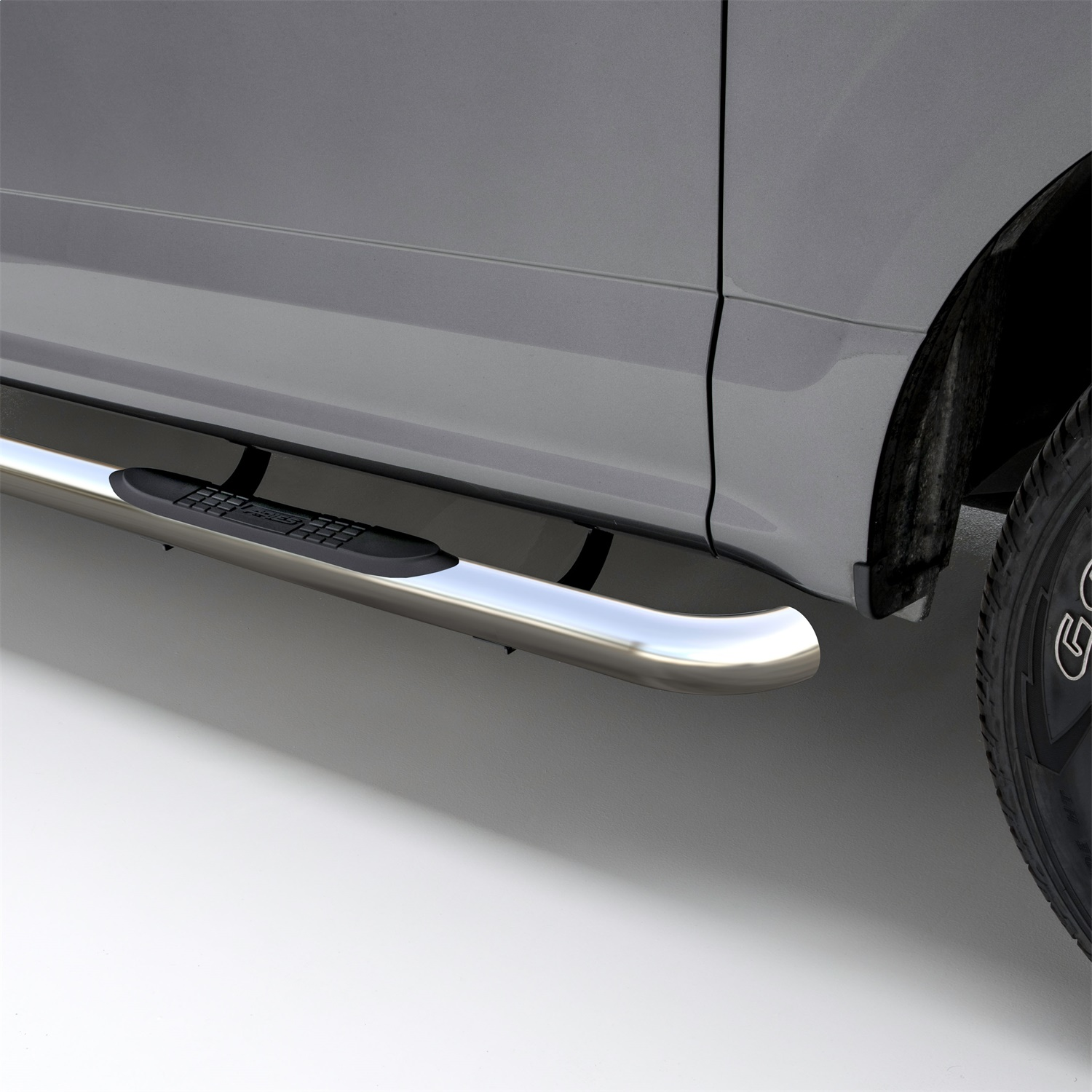 Aries 3 in. Round Side Bars, Incl. Side Bars And Mounting Hardware, Rocker Panel Mount, Polished Stainless Steel