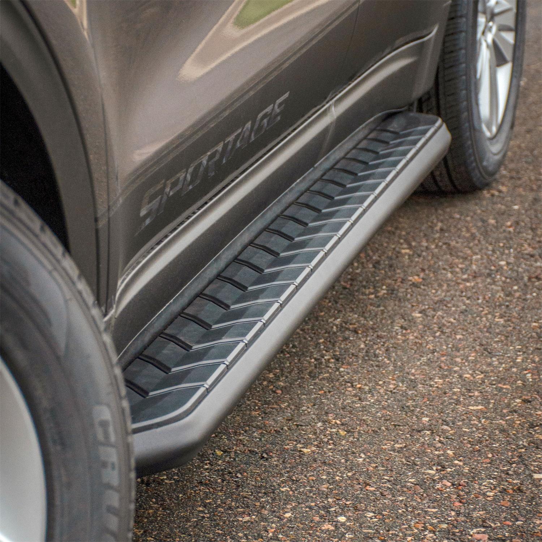 AeroTread Running Boards w/Mounting Brackets, 5 in., Carbide Black Powder Coat Aluminum, Incl. PN[2051967/2051138]