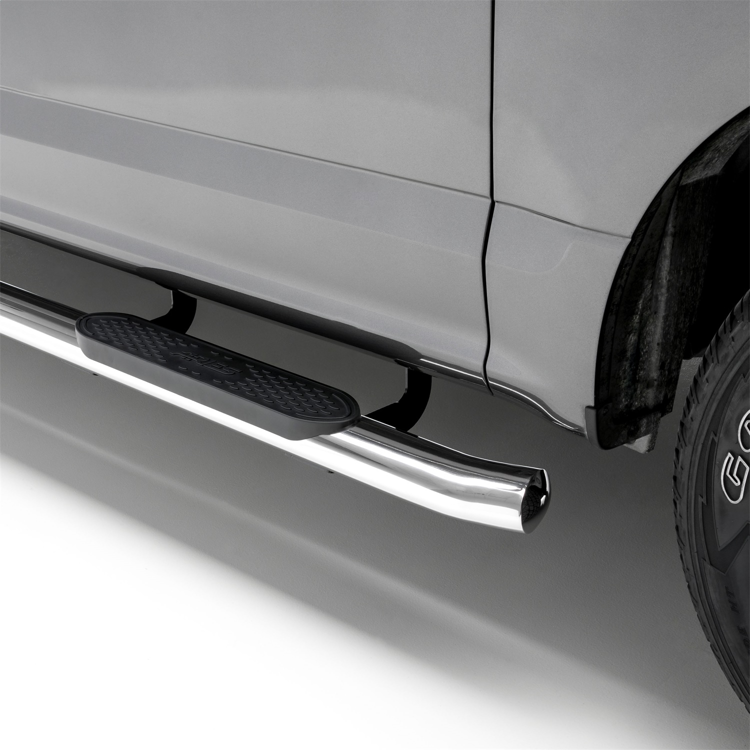 The Standard 4 in. Oval Nerf Bar, Polished Stainless Steel, Board And Bracket