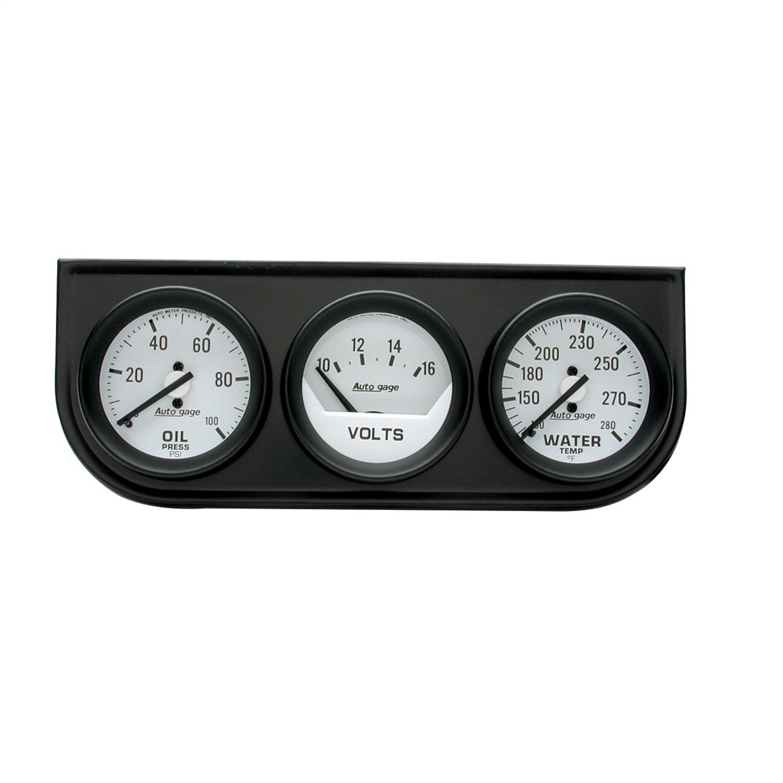 AUTO METER 2396 Autogage Mechanical Mini Oil//Volt//Water Gauge with Black Console