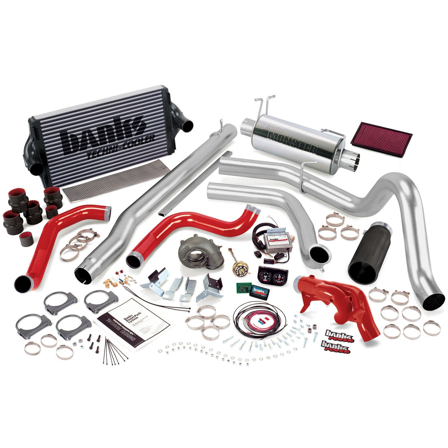 Banks Power 47421-B PowerPack System; Single Exh; S/S-Black Tip-1999 Ford 7.3L F450/550; Auto