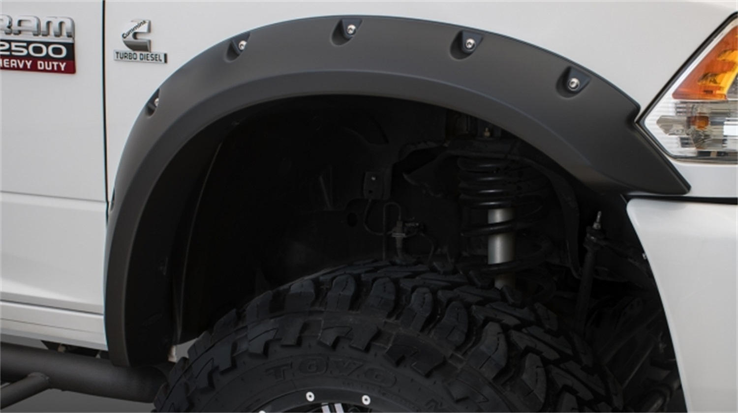 Max Coverage Pocket Styler Fender Flares, 4 pc., Front Tire Coverage 3.5 in., Front Height 4.75 in., Rear Tire Coverage 3 in, Rear Height 4.75 in., Smooth Finish, Black
