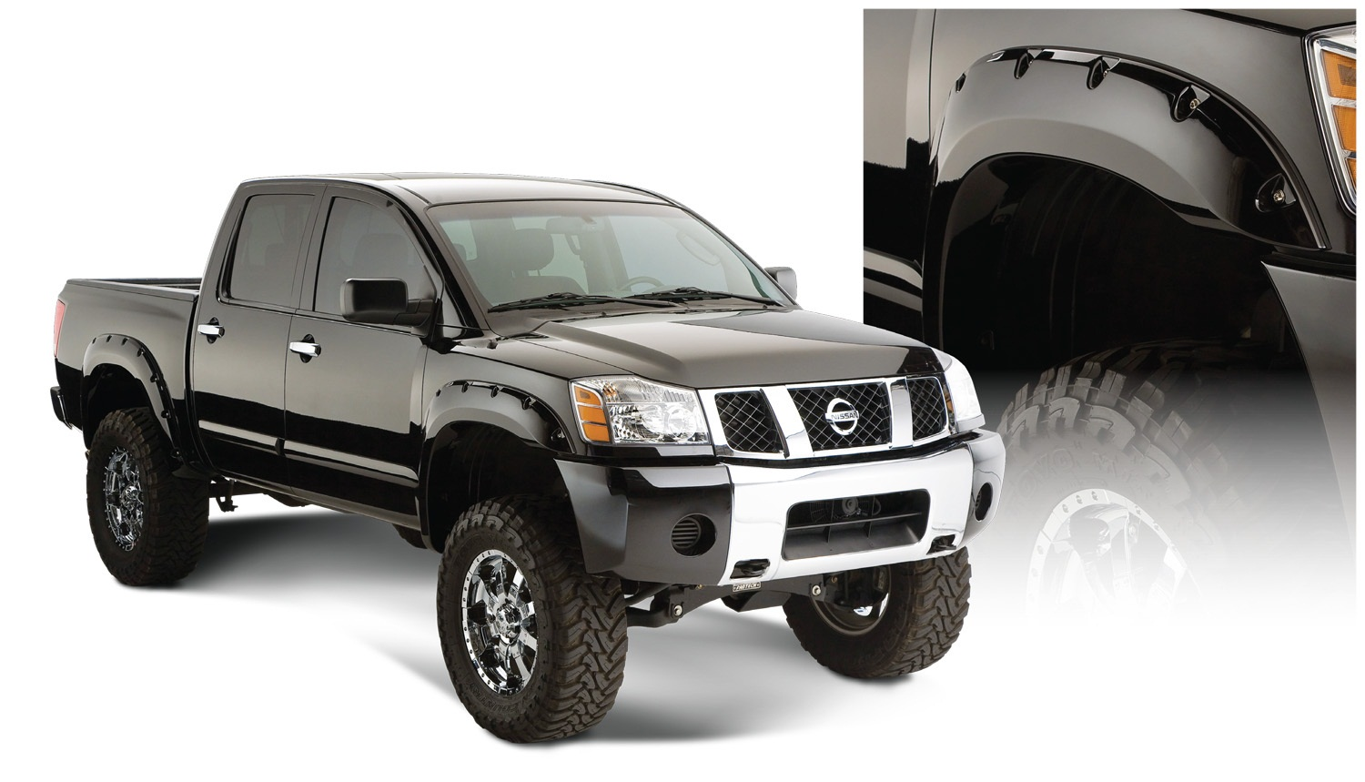 Pocket Styler Fender Flares, 2 pc., Rear Tire Coverage 2 in., Rear Height 6 in., Smooth Finish, Black, w/Bedside Lockbox