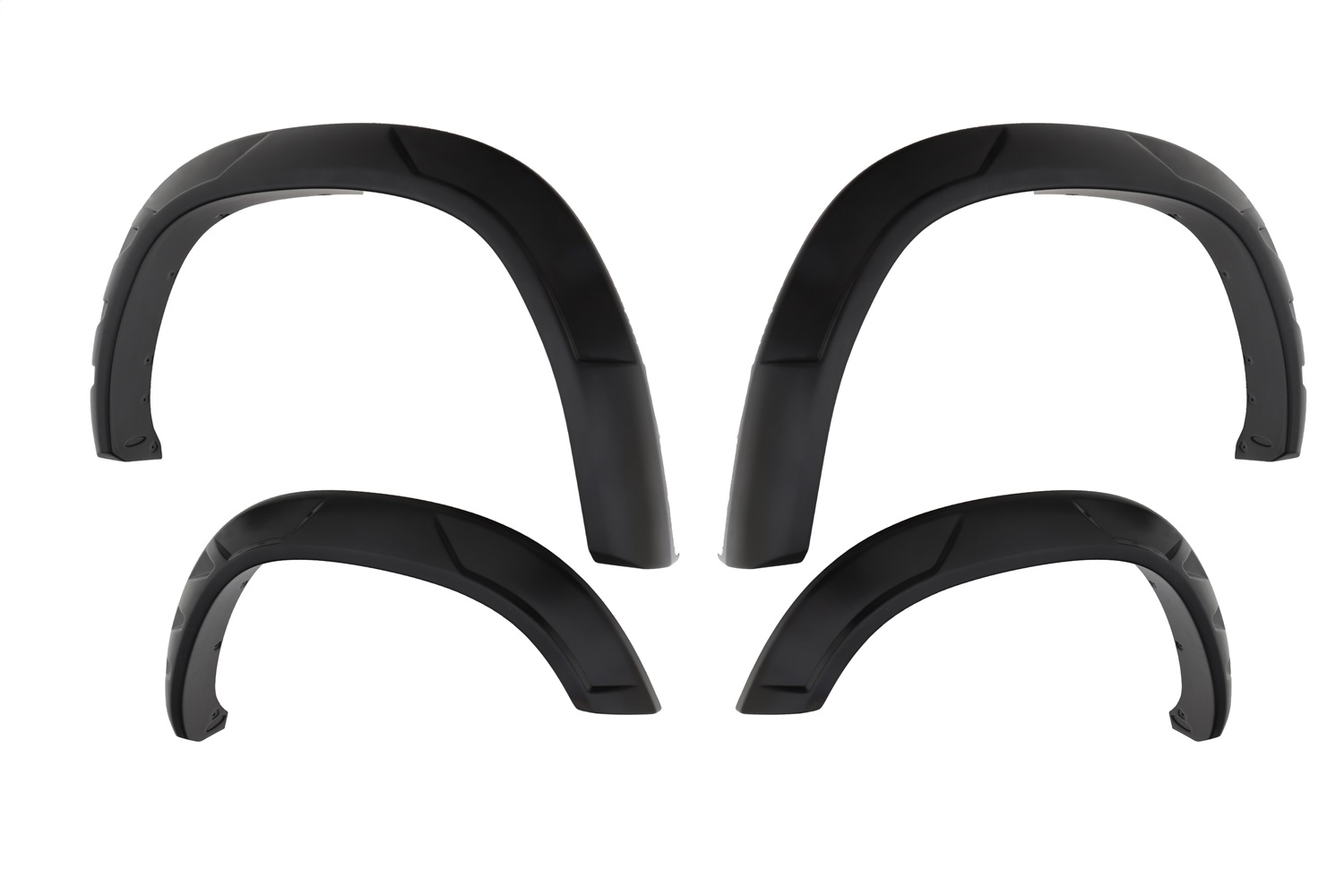 DRT StyleT Fender Flares, 4 pc., Front Tire Coverage 3 in., Front Height 4.5 in., Rear Tire Coverage 3 in, Rear Height 4.5 in., Smooth Finish, Black