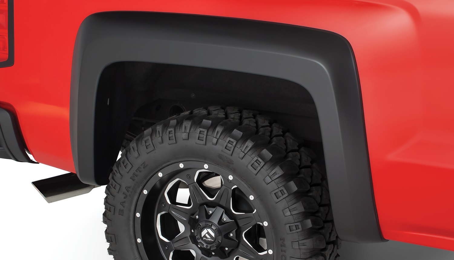 Extend-A-Fenderr Flares, 4 pc., Front Tire Coverage 2.5 in., Front Height 6.5 in., Rear Tire Coverage 2.5 in., Rear Height 6.5 in., Smooth Finish, Black