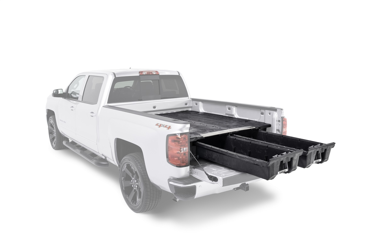 DECKED Truck Bed Storage System, 64.54 in., Made Of High Density Polyethylene, Stainless Steel Hardware, Features Cast Aluminum Handles / Galvanized Steel Subframe