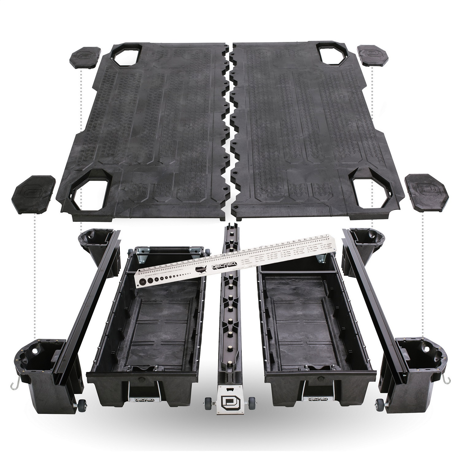 DECKED Truck Bed Storage System, 75.25 in., Made Of High Density Polyethylene, Stainless Steel Hardware, Features Cast Aluminum Handles / Galvanized Steel Subframe