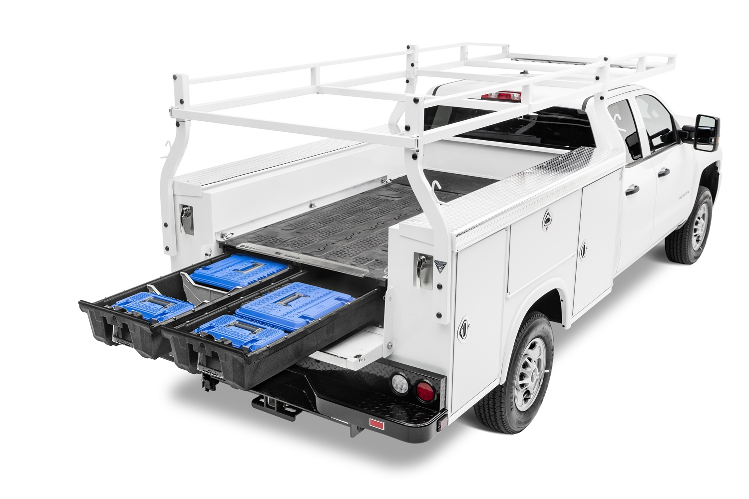 Service Body Truck Bed Storage System, 48 in. To 51 in. Width, For Use w/80 in. To 96 in. Beds, Fully Assembled