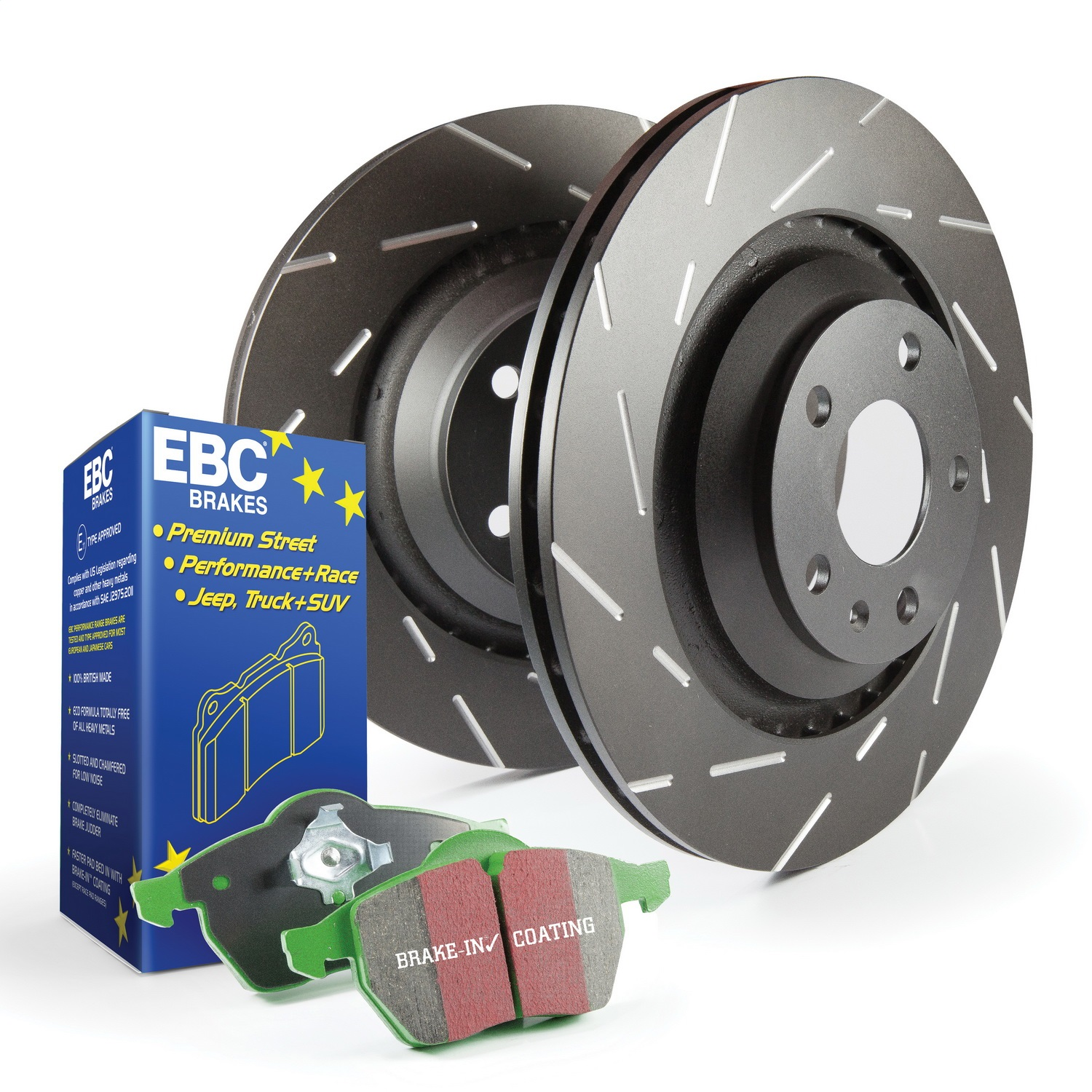 EBC Brakes S2KR2338 S2 Kits Greentuff 2000 and USR Rotors Fits 15-18 WRX