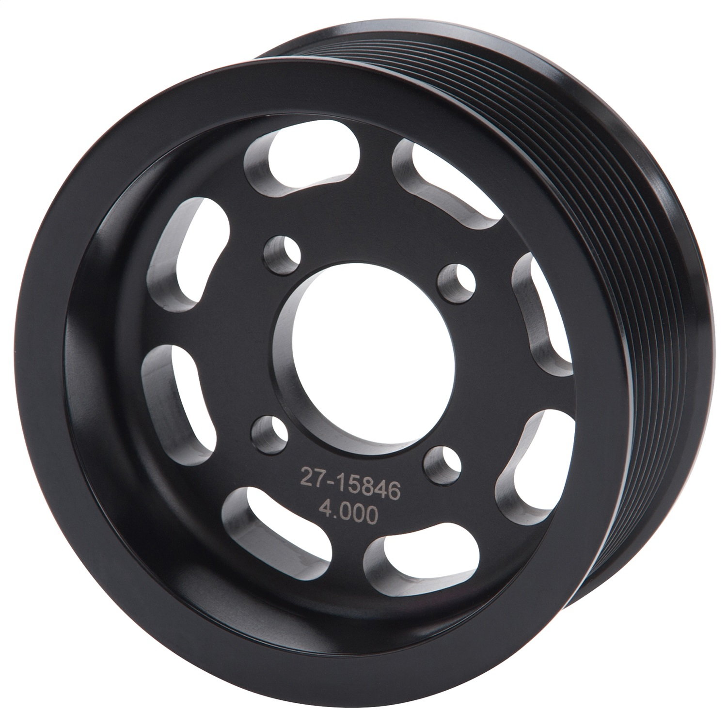 "Edelbrock 15846 PULLEY TVS 10 RIB 4.000"" BLK ANODIZED"