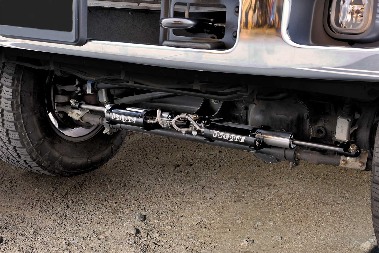 Fabtech FTS221162 Dual Dirt Logic 2.25 Stainless Steel Steering Stabilizer Kit