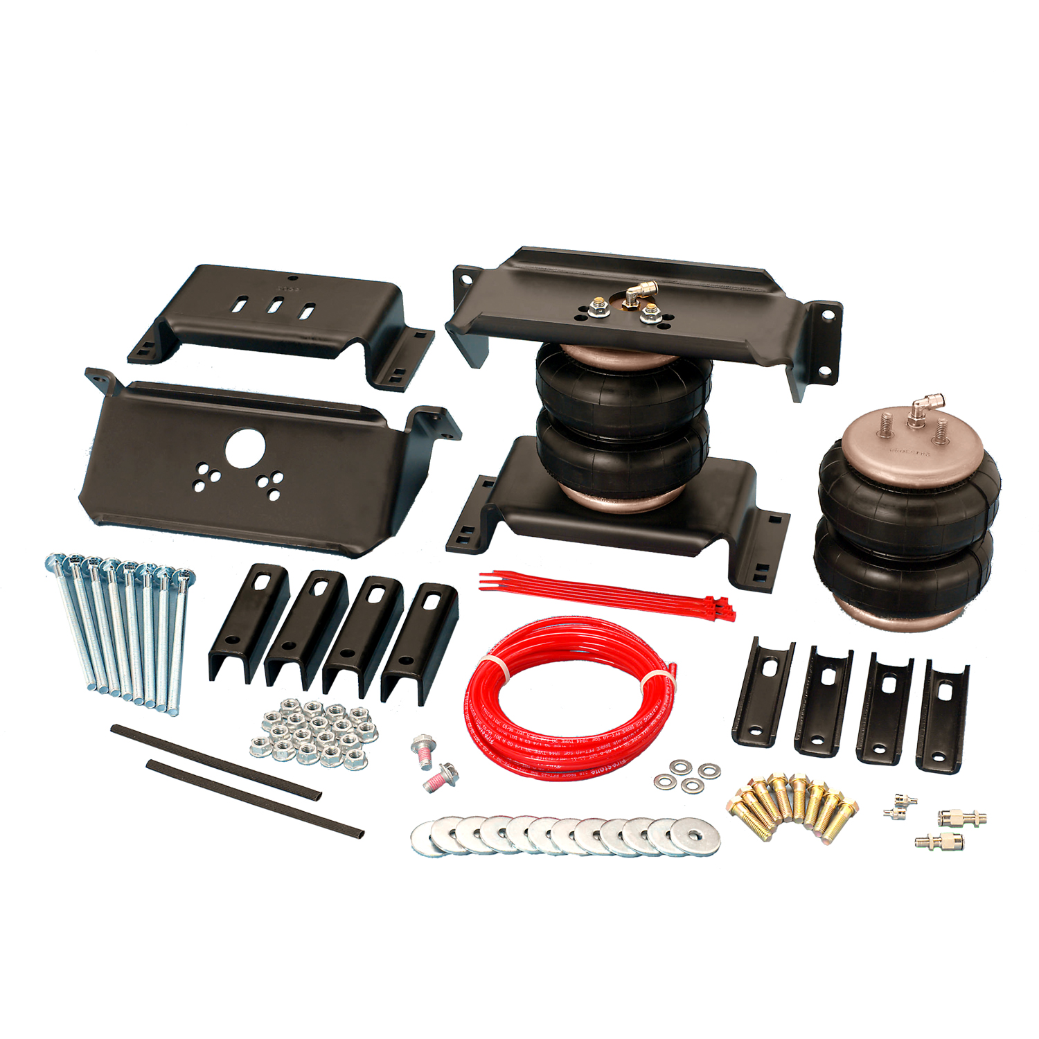 Ride-Riter Air Helper Spring Kit, Rear, Incl. Brackets, Air Helper Springs, Hardware, Air Line, And Inflation Valves, Drilling Required