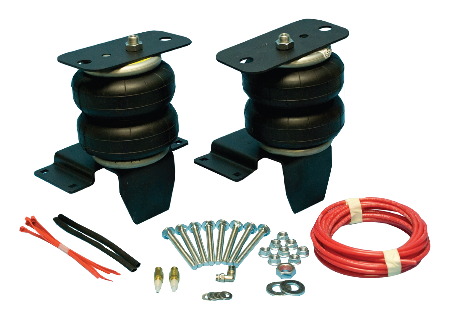 Ride-Riter Air Helper Spring Kit, Rear, Incl. Brackets, Air Helper Springs, Hardware, Air Line, And Inflation Valves, No Drilling Required