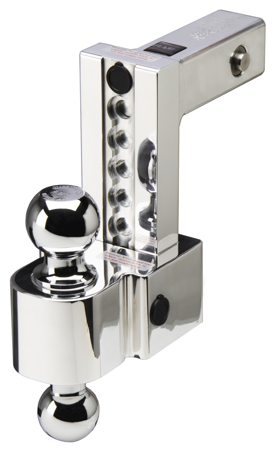Flash ALBM Series Adjustable Locking Aluminum Ball Mount, Built In Locks, 6 in. Drop, Stainless 2 And 2 5/8 in. Ball