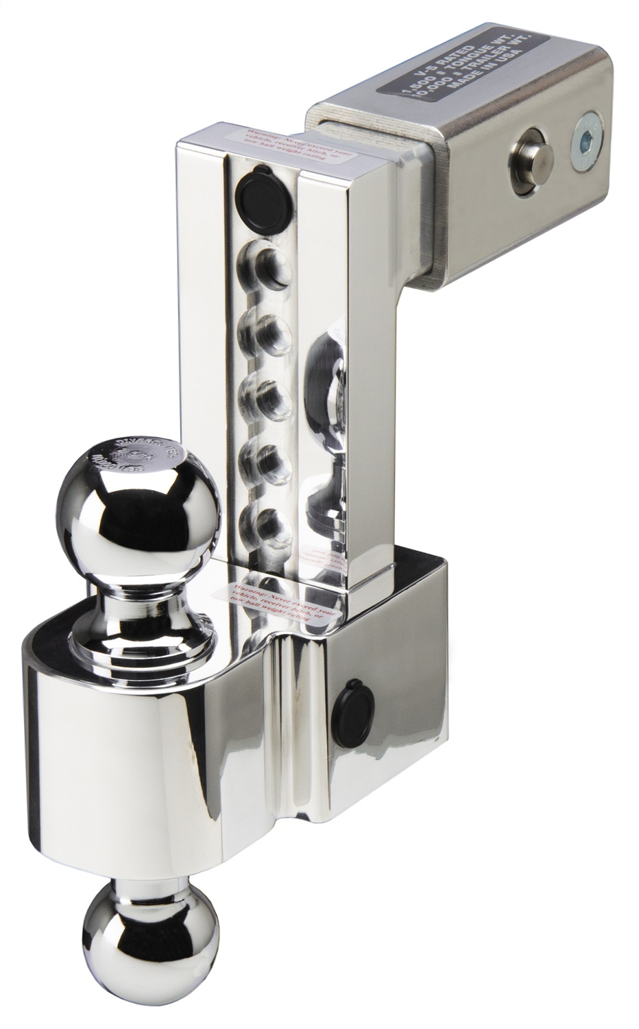 Flash ALBM Series Adjustable Locking Aluminum Ball Mount, Built In Locks, 6 in. Drop, Fits 2.5 in. Receiver, Chrome 2 And 2 5/8 in. Ball