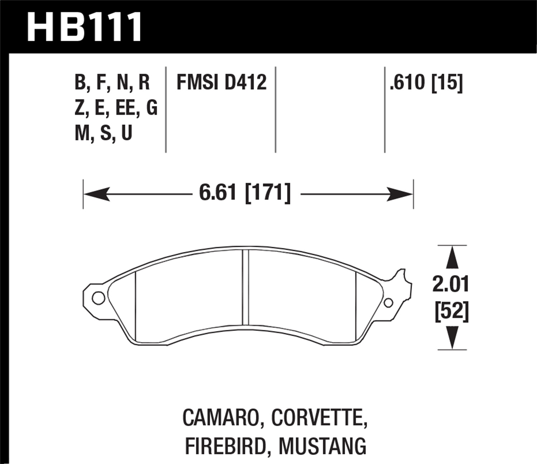 Hawk Performance HB111F.610 HPS Front Disc Brake Pad Fits 88-96 Chevy Corvette