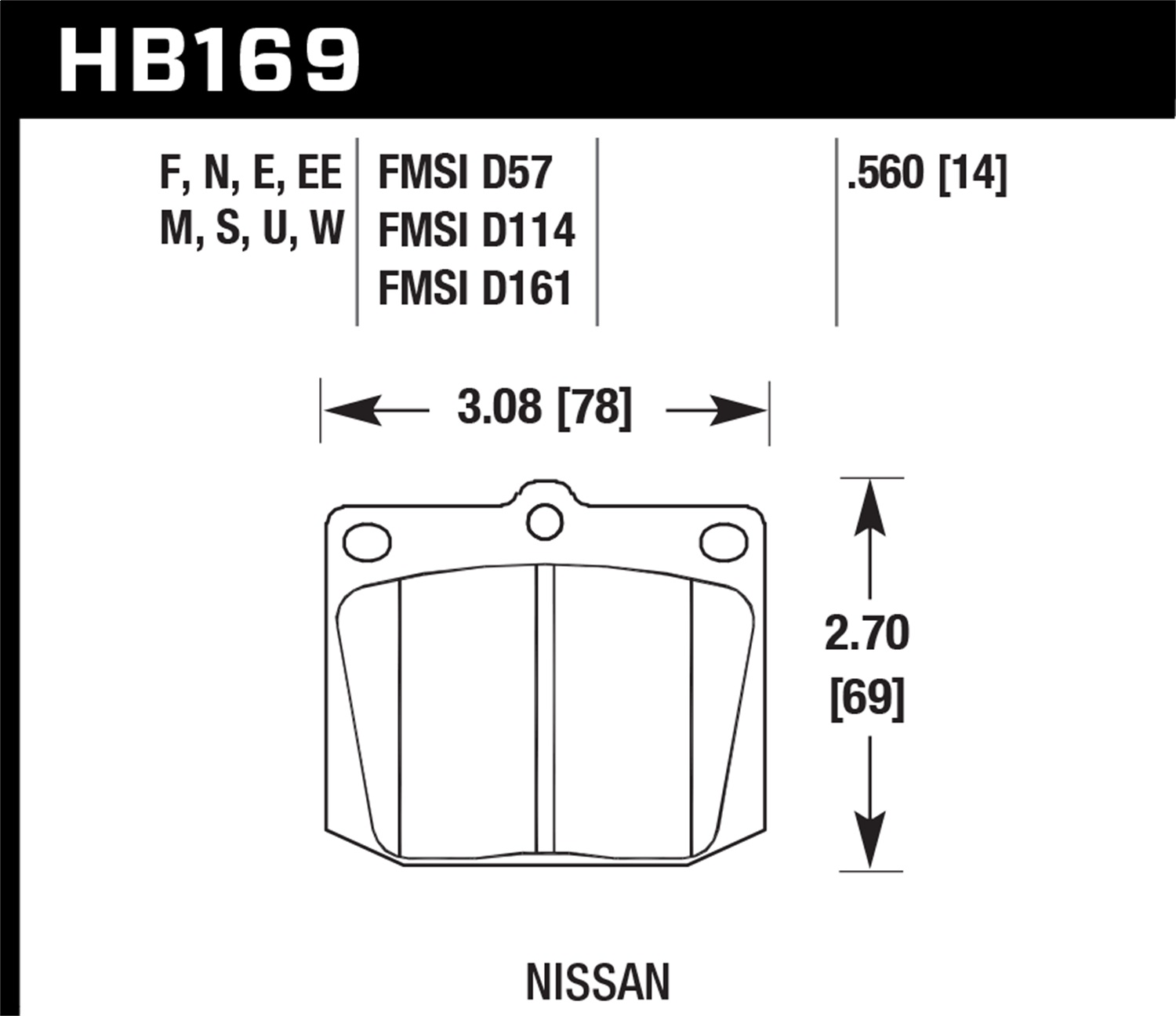 Hawk Performance Hb169f560 Disc Brake Pad Ebay Note This Is A Thumbnail Diagram Click On It To Enlarge Thumbnails