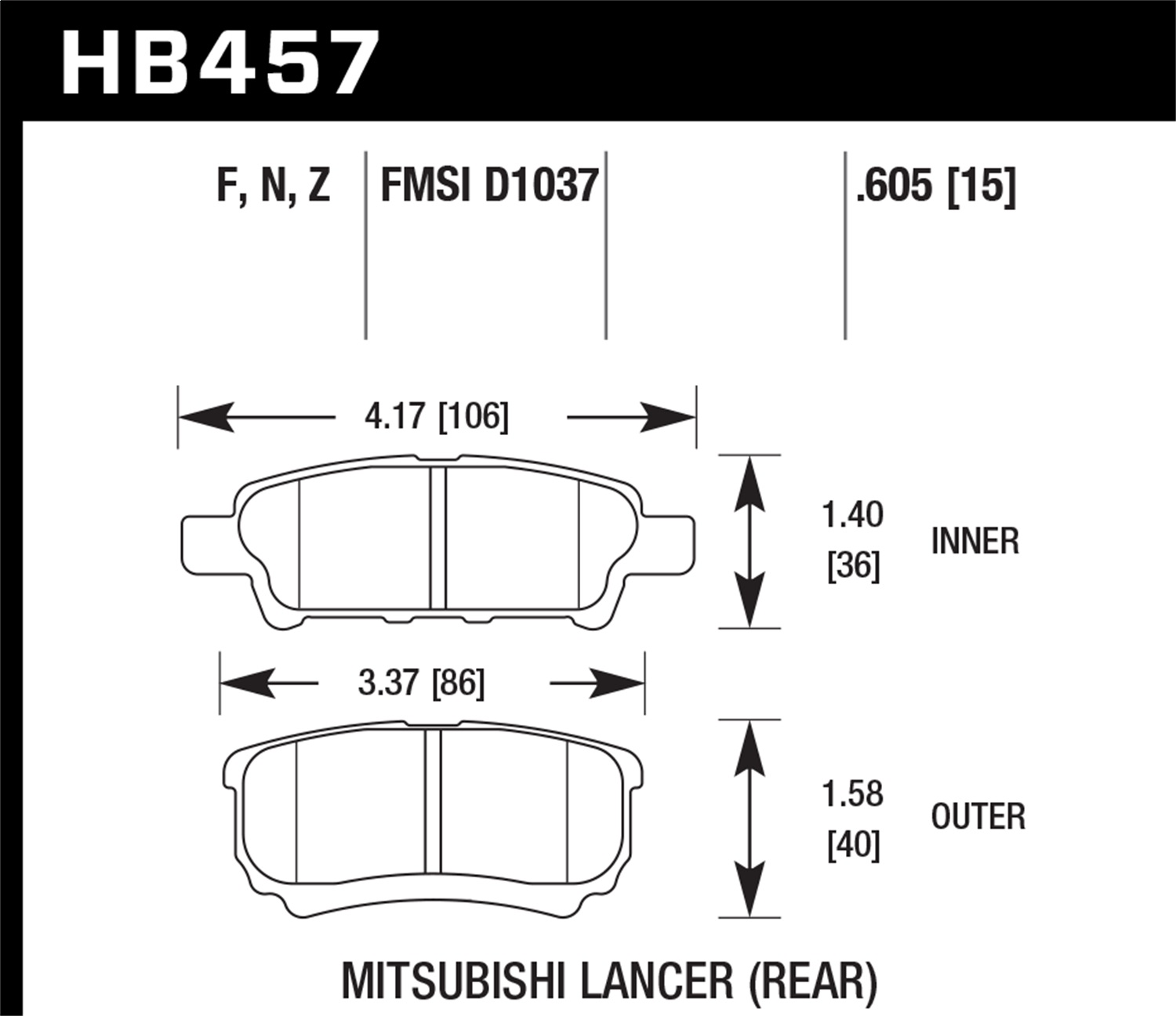 Hawk Performance HB457Z.605 Performance Ceramic Disc Brake Pad