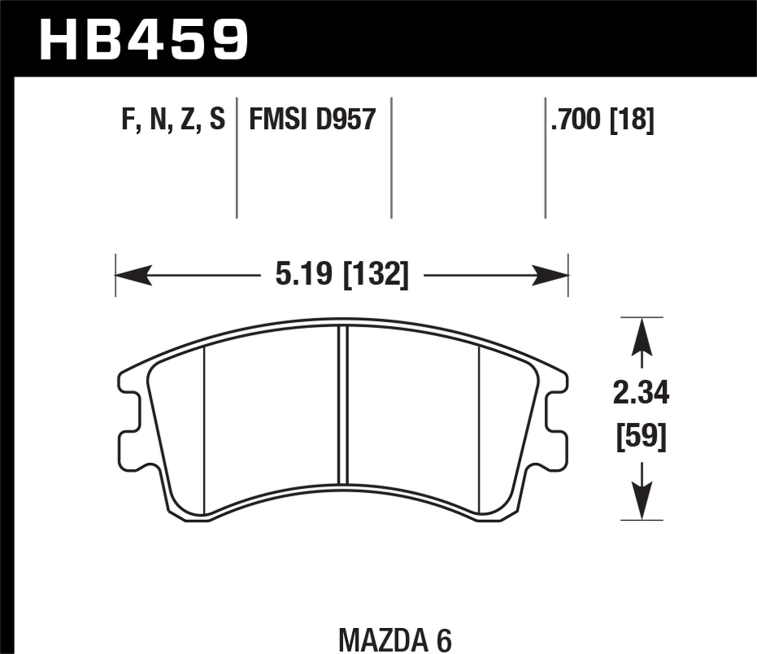 Hawk Performance HB459F.700 HPS Disc Brake Pad Fits 03-05 6