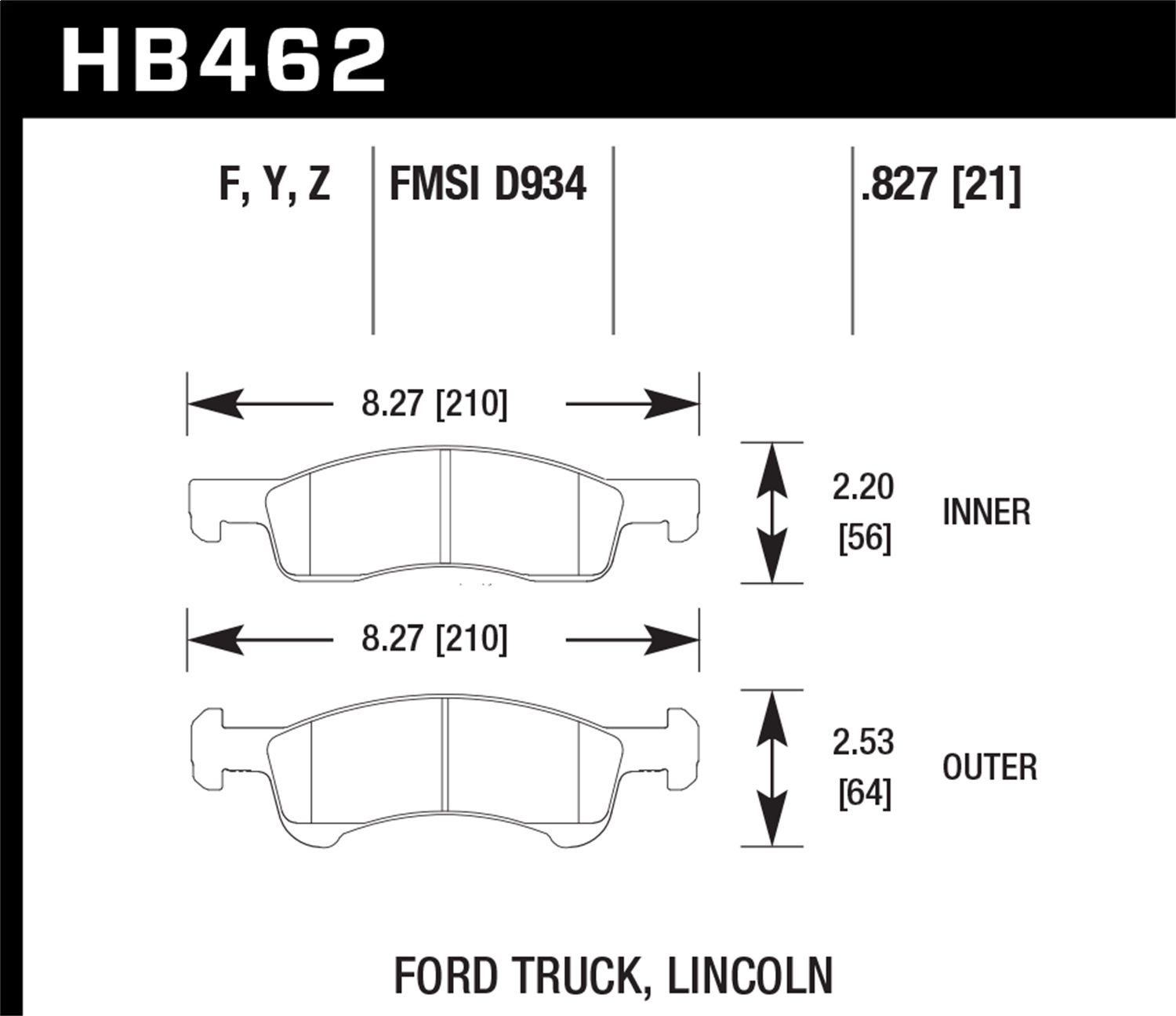 Hawk Performance HB462Z.827 Performance Ceramic Disc Brake Pad