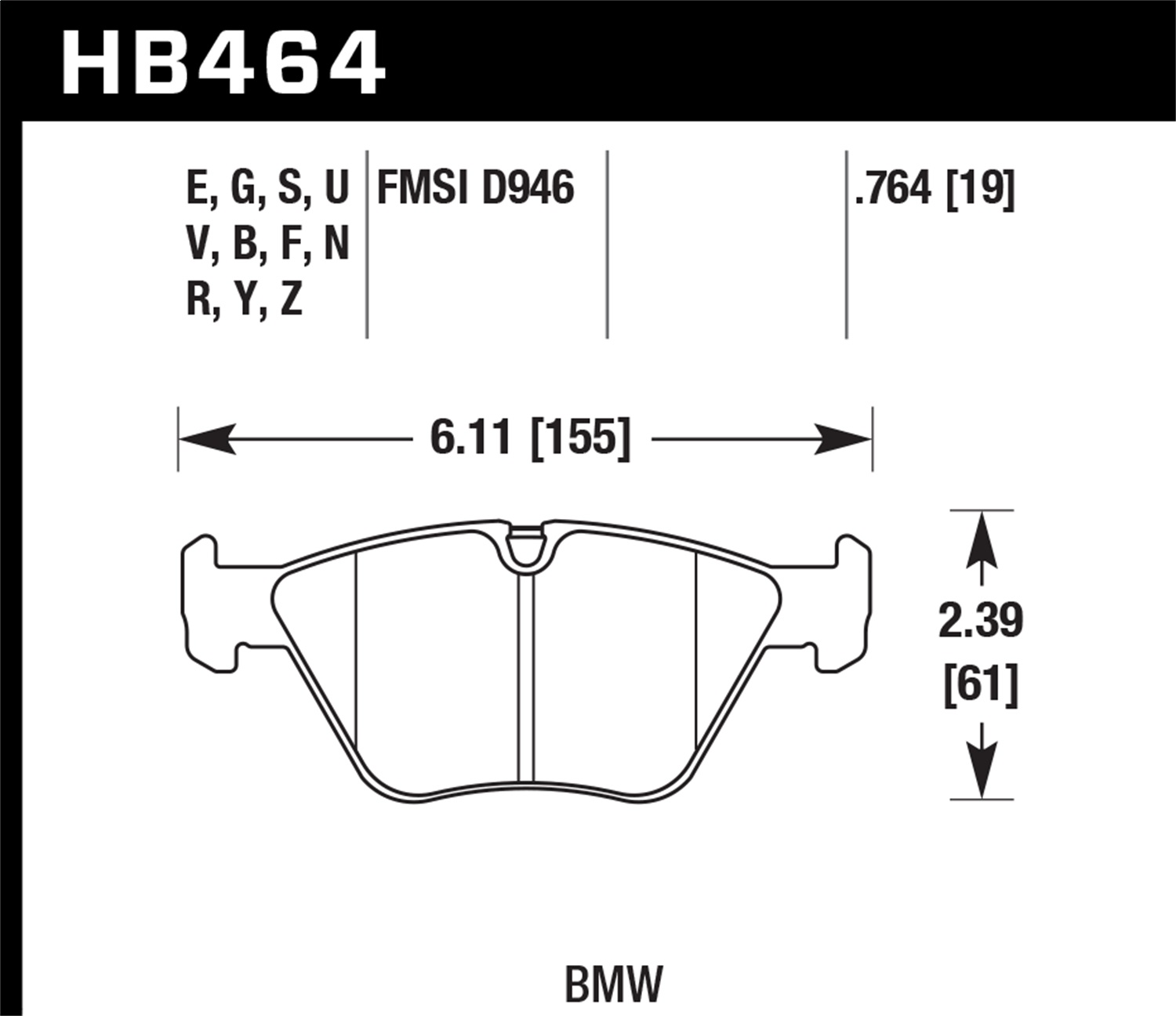 Hawk Performance HB464Y.764 LTS Disc Brake Pad Fits 330Ci 330i 330xi M3 X1 X3 Z4