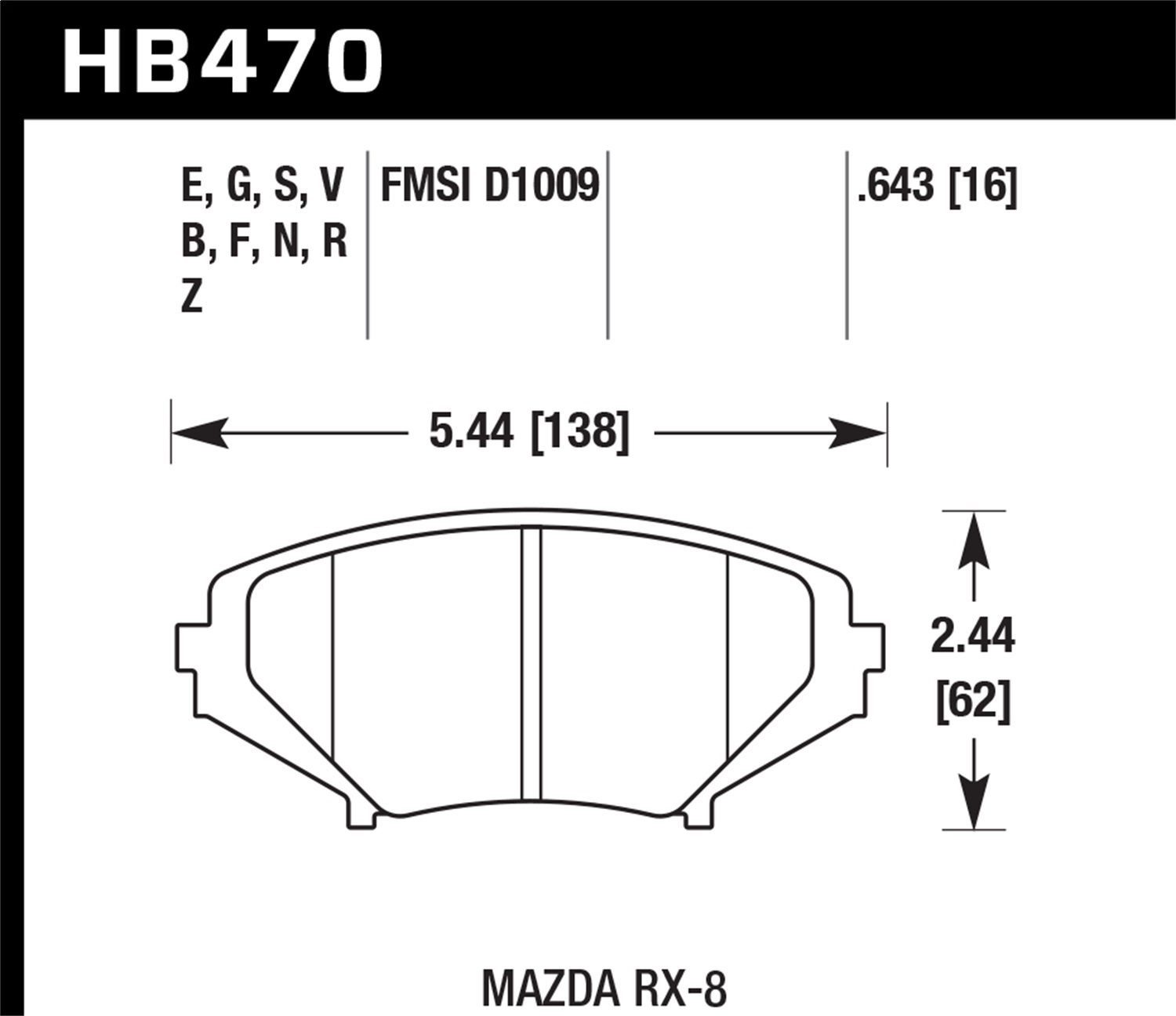 Hawk Performance HB470V.643 DTC-50 Disc Brake Pad Fits 04-11 RX-8