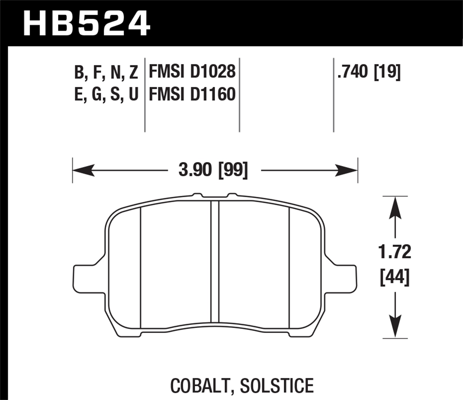 HB 524 Hawk Performance HB524Z.740 Disc Brake Pad