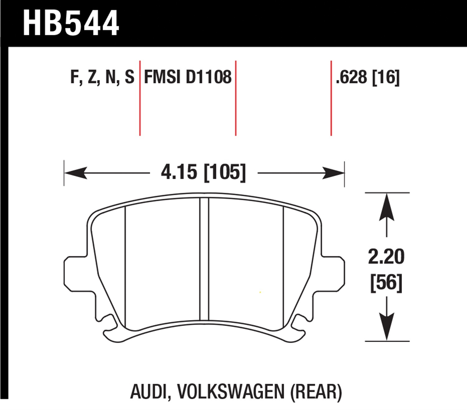 Hawk Performance HB544S.628 HT-10 Disc Brake Pad
