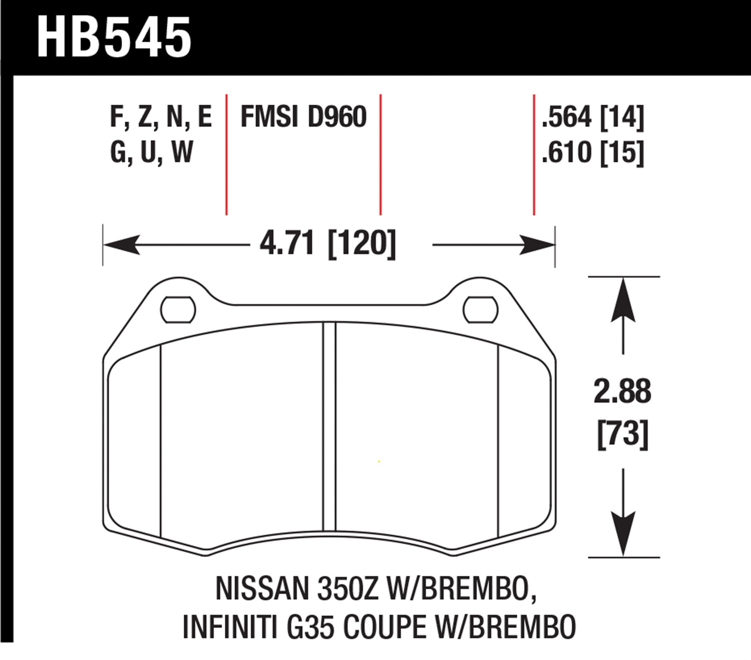 Hawk Performance HB545G.564 DTC-60 Disc Brake Pad Fits 03-09 350Z G35 Sentra