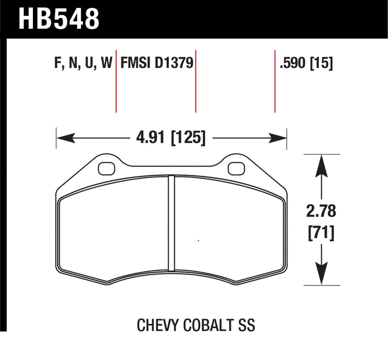 HB 548 Hawk Performance HB548N.590 Disc Brake Pad Fits 07 16 4C Cobalt HHR MX 5 Miata