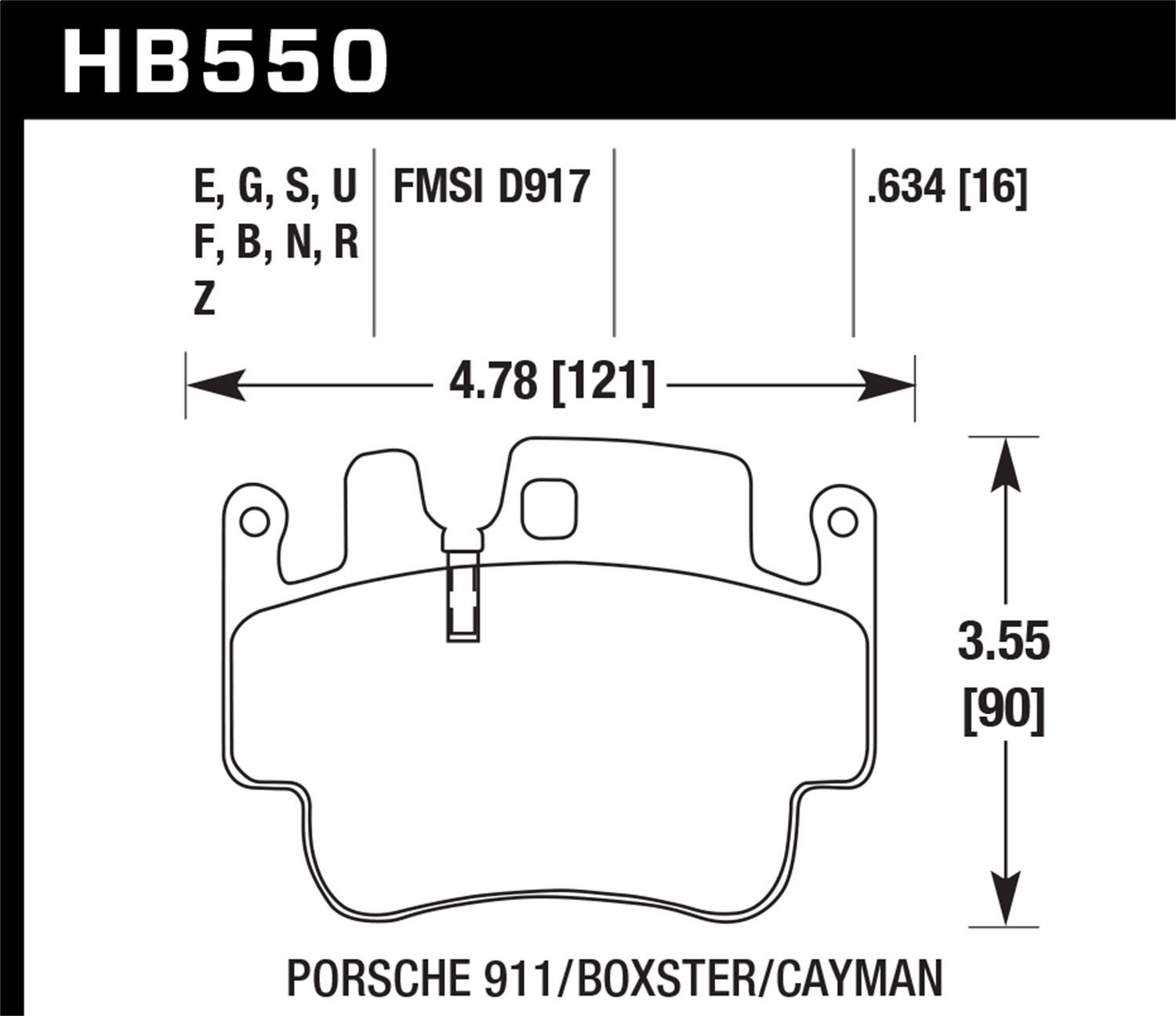 Hawk Performance HB550S.634 HT-10 Disc Brake Pad Fits 98-07 911 Boxster Cayman