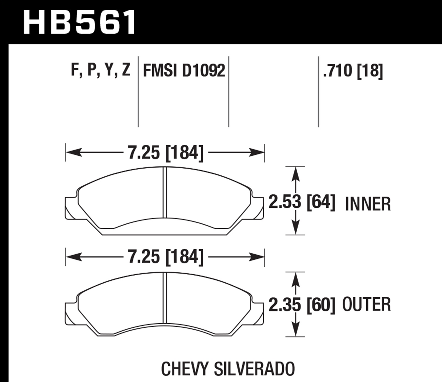 Hawk Performance HB561P.710 SuperDuty Disc Brake Pad