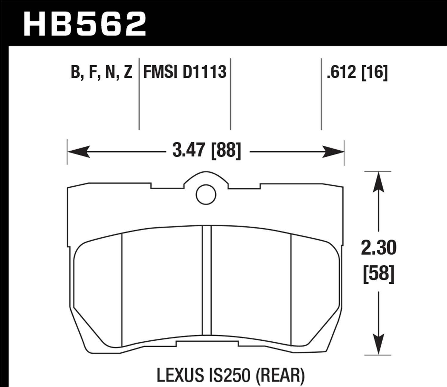 Hawk Performance HB562F.612 HPS Disc Brake Pad