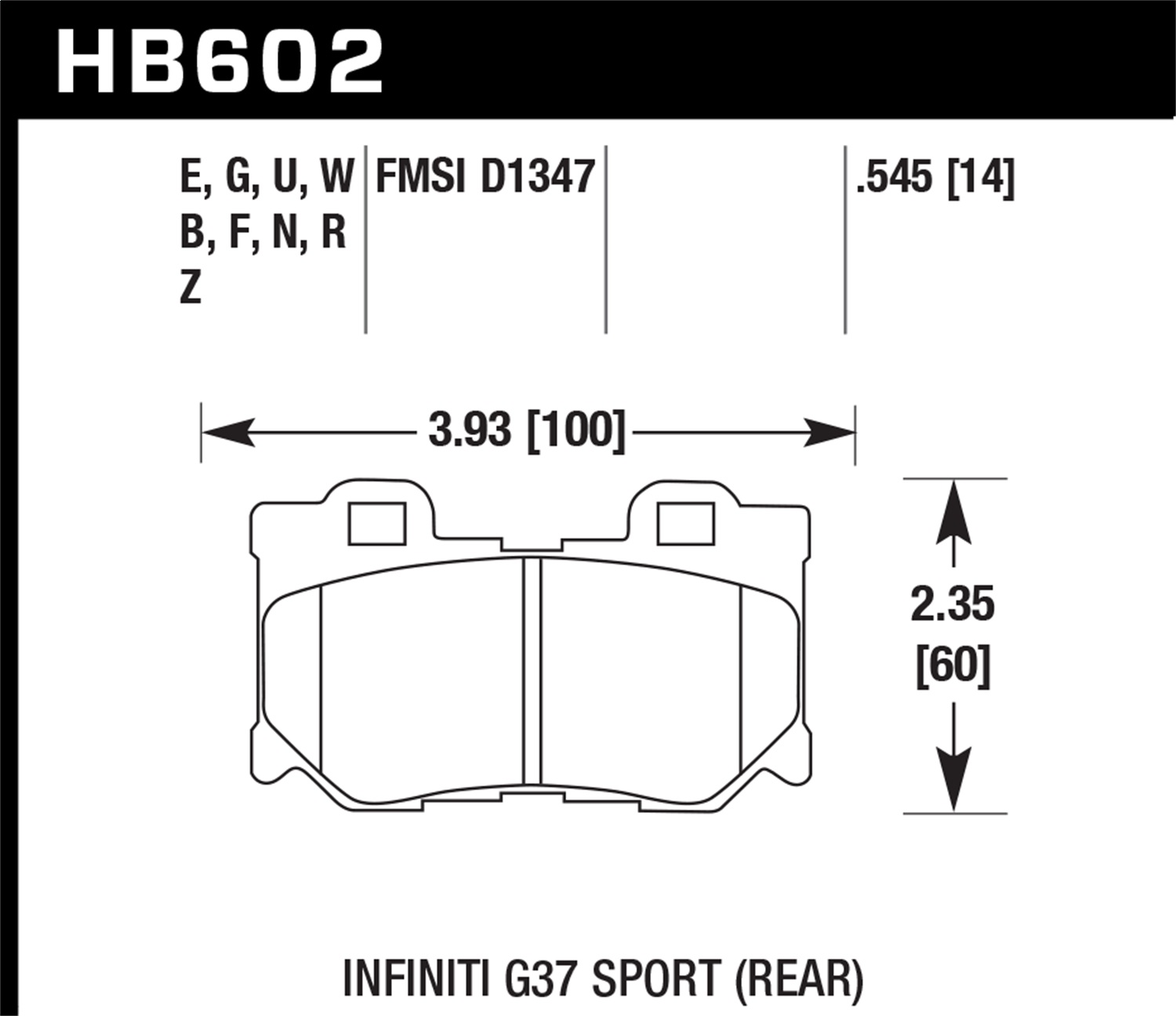 Hawk Performance HB602Z.545 Performance Ceramic Disc Brake Pad