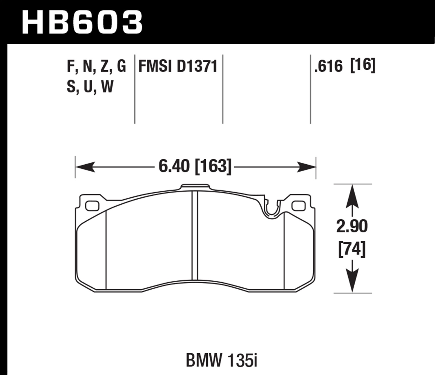 Hawk Performance HB603B.616 HPS 5.0 Disc Brake Pad Fits 08-13 135i 135is