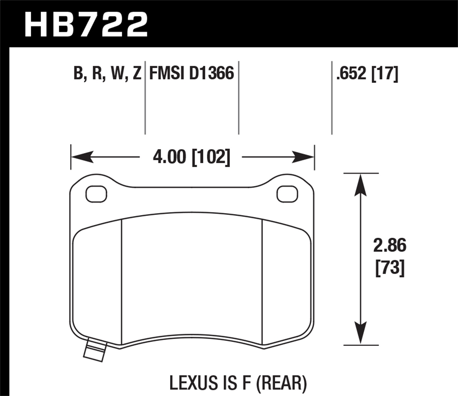 Hawk Performance HB722Z.652 Performance Ceramic Disc Brake Pad Fits 13 IS F
