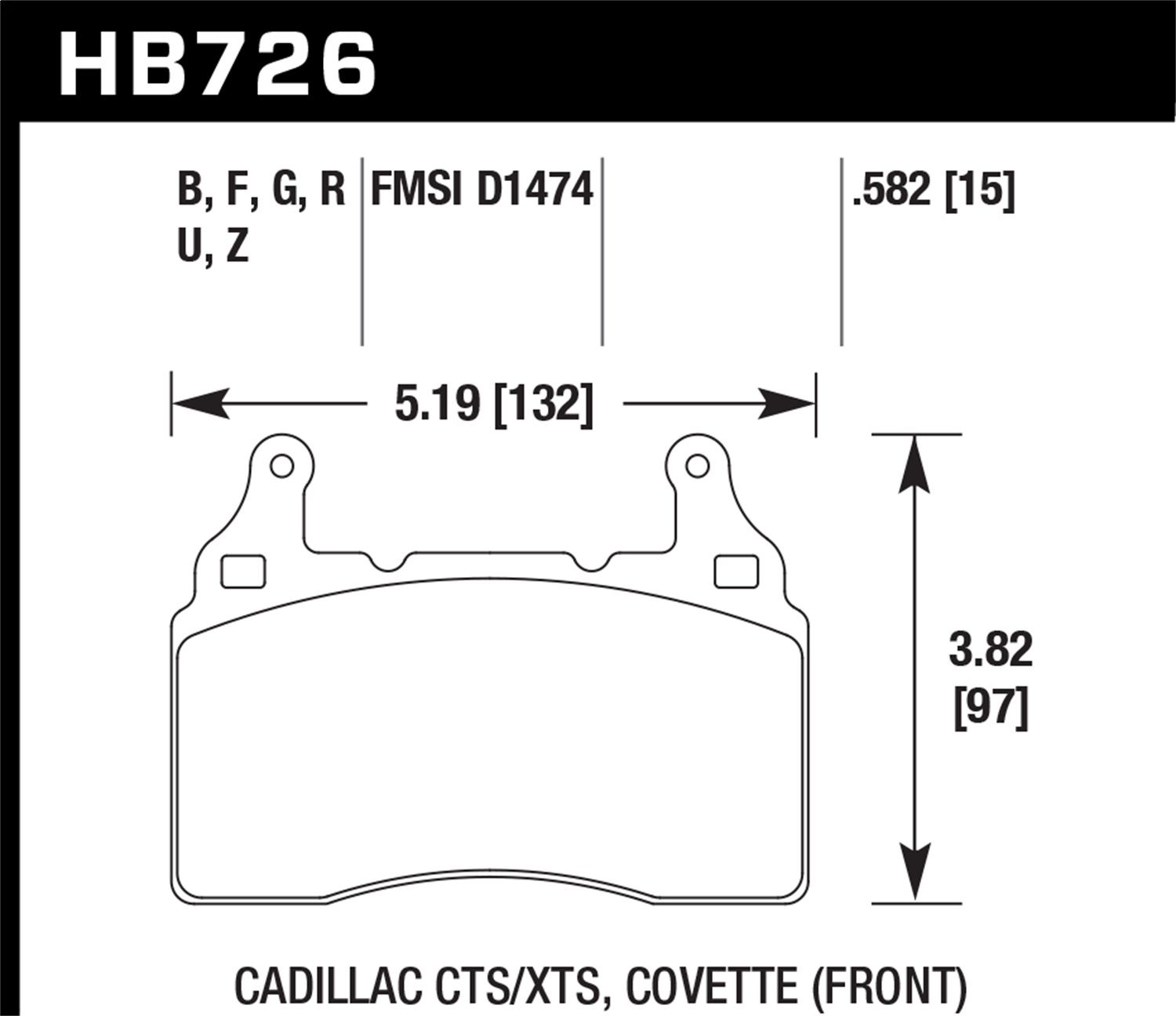 Hawk Performance HB726B.582 HPS 5.0 Disc Brake Pad Fits Camaro Corvette S SS