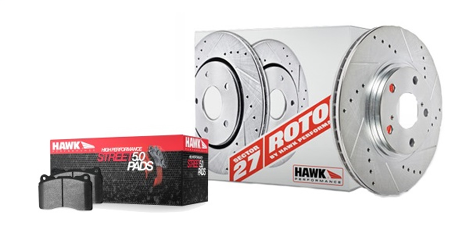 ROTORS W HPS 5 0 PADS KIT Hawk Performance HK4187.524B Sector 27 Brake Kits Fits 04 10 HHR Ion