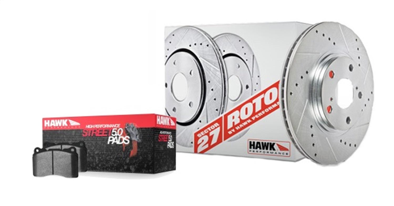 ROTORS W HPS 5 0 PADS KIT Hawk Performance HK4187.524B Sector 27 Brake Kits Fits 04 10 HHR Ion