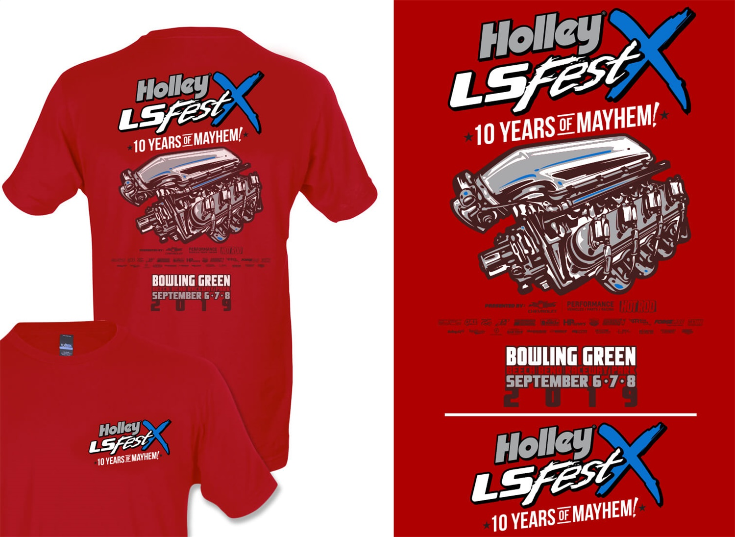 Holley Performance 10219-3XHOL 2019 Holley LS Fest Main Event Engine T-Shirt