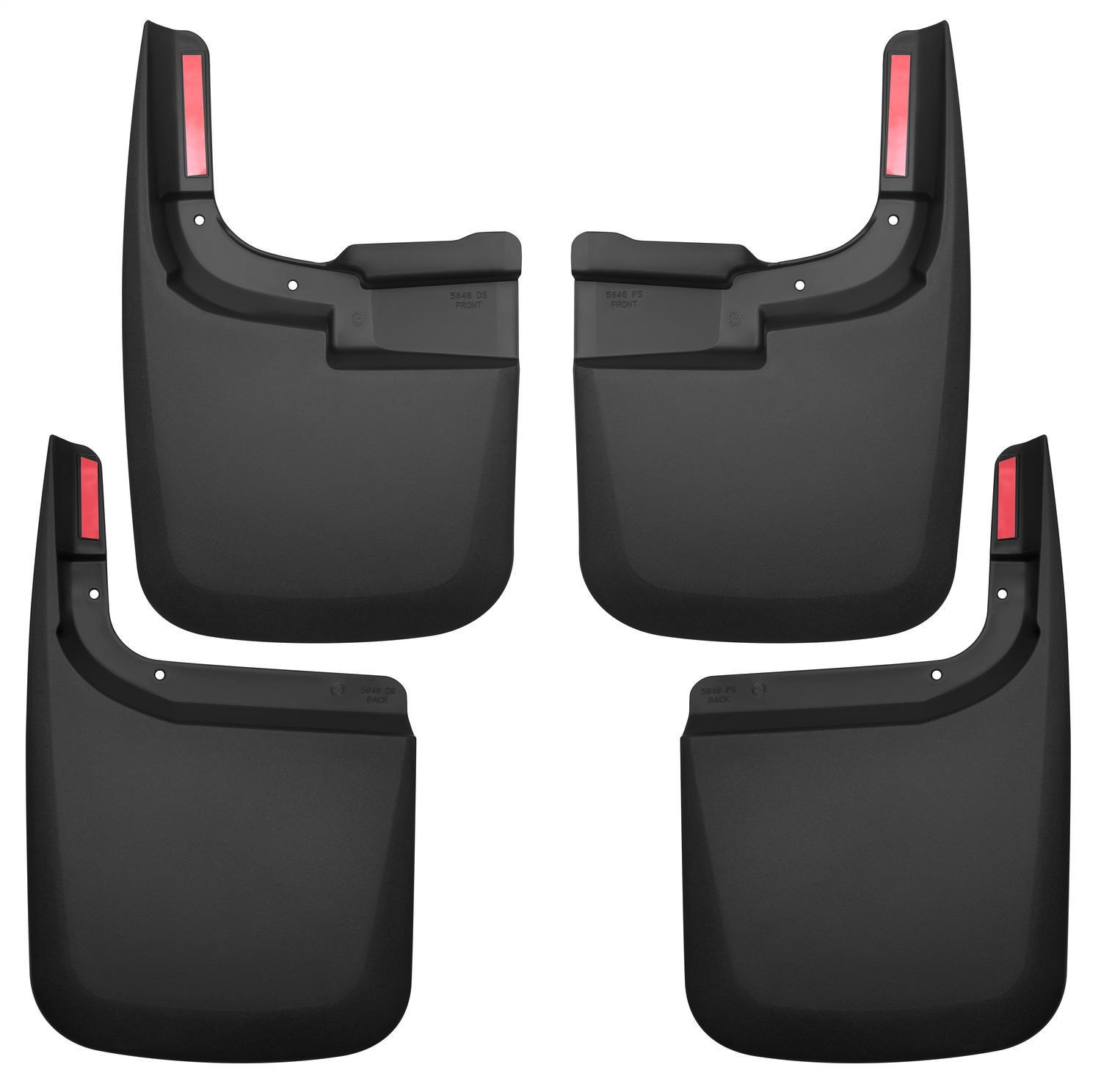 Custom Molded Mud Guard Set, 4 pc., Black, Fits Models w/o Fender Flares, Front And Rear, Incl. Installation Kit