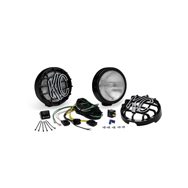 KC HiLites 6in Slimlite Halogen Pair Pack System Black Housing Fog Beam 100W