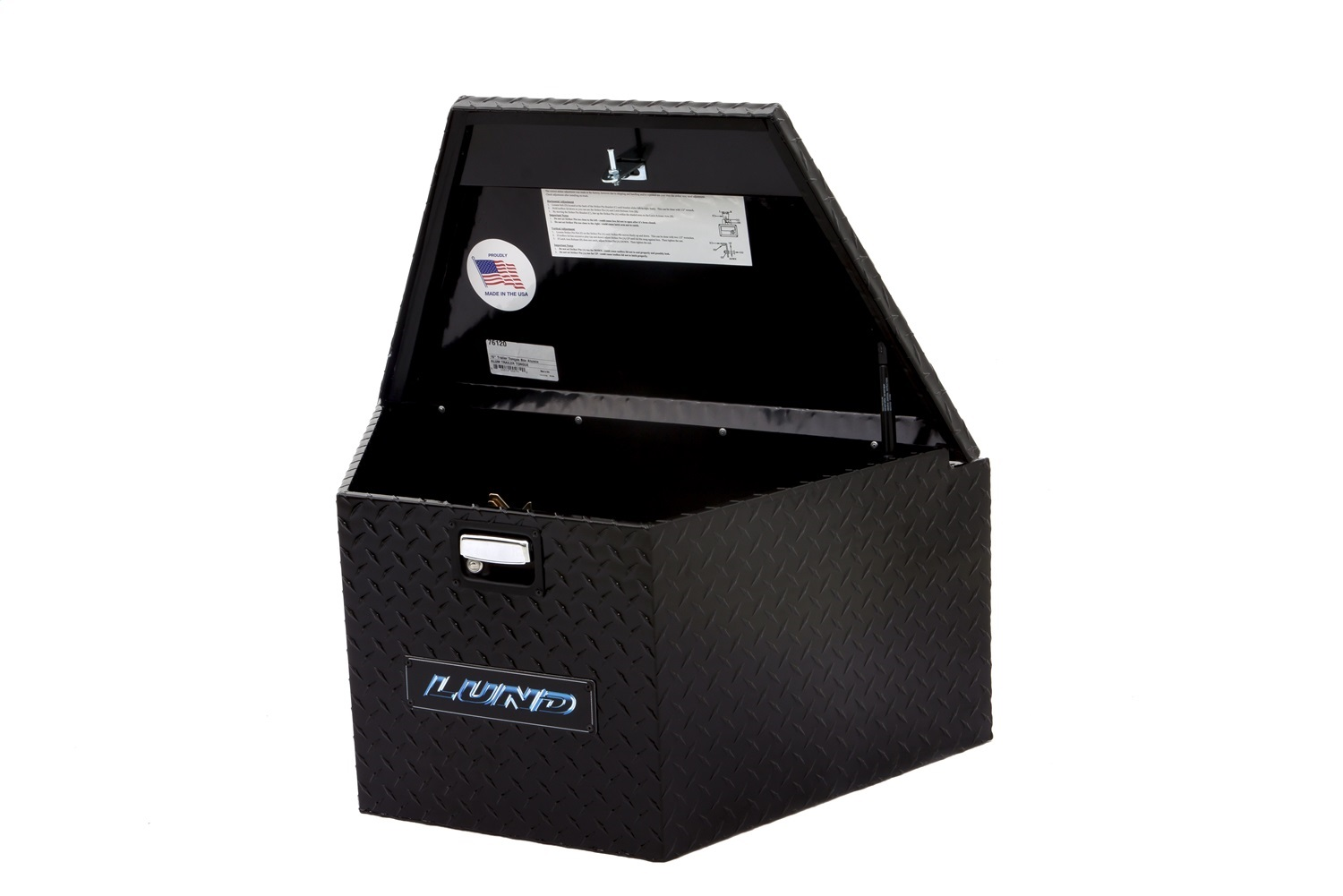 Aluminum Trailer Tongue Storage Box, L 34 in. x W 21 in. x H 18 in., Black