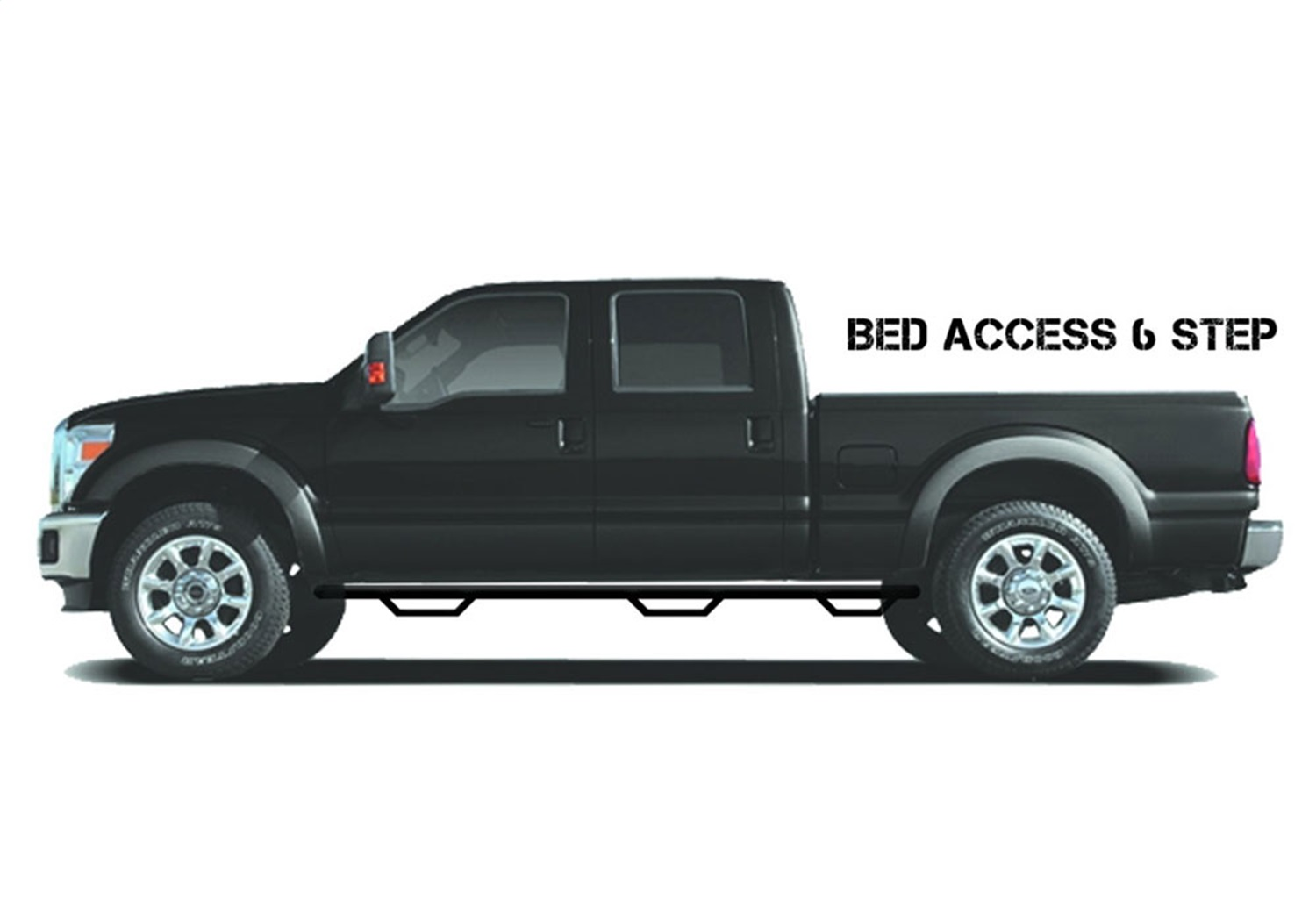 Wheel To Wheel Nerf Step Bar w/Bed Access, Textured Black, 6 Step, Special Order