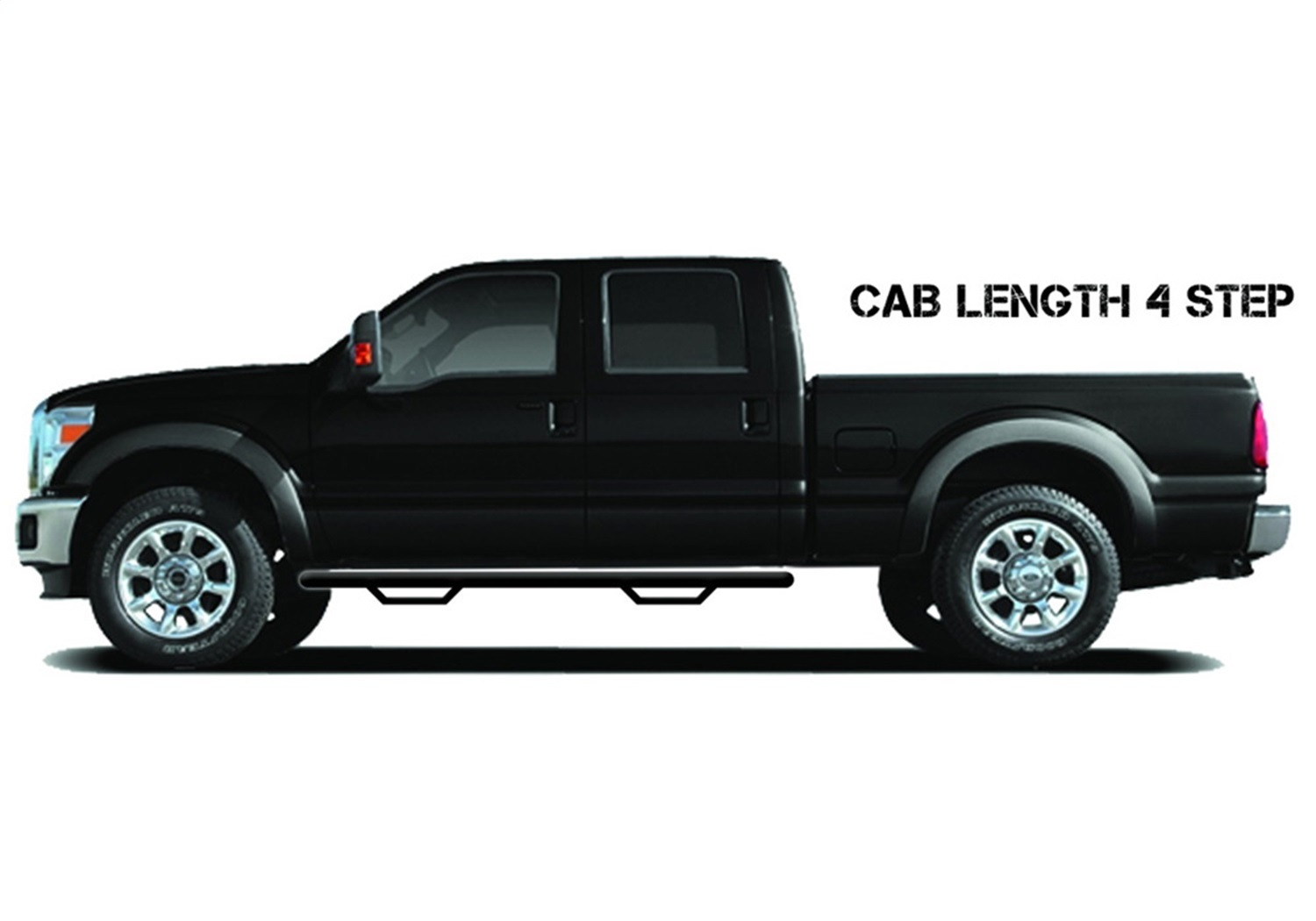 Cab Length Nerf Step Bar, Textured Black, Special Order, 3 in. Tube, 2 Steps Per Side, Sold As Pair, Works w/DEF Tank